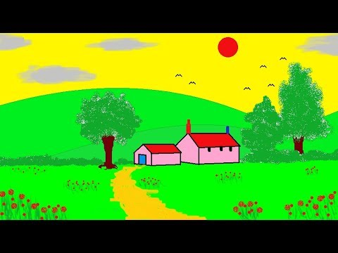 How to Draw A Scenery Landscape House in MS Paint Simple Children Art in MS Paint Learn MS Paint Com