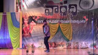 Telugu movie  hero's dance imitation by Adhire abhi awesome performance @Vaaradhi 2015| USA