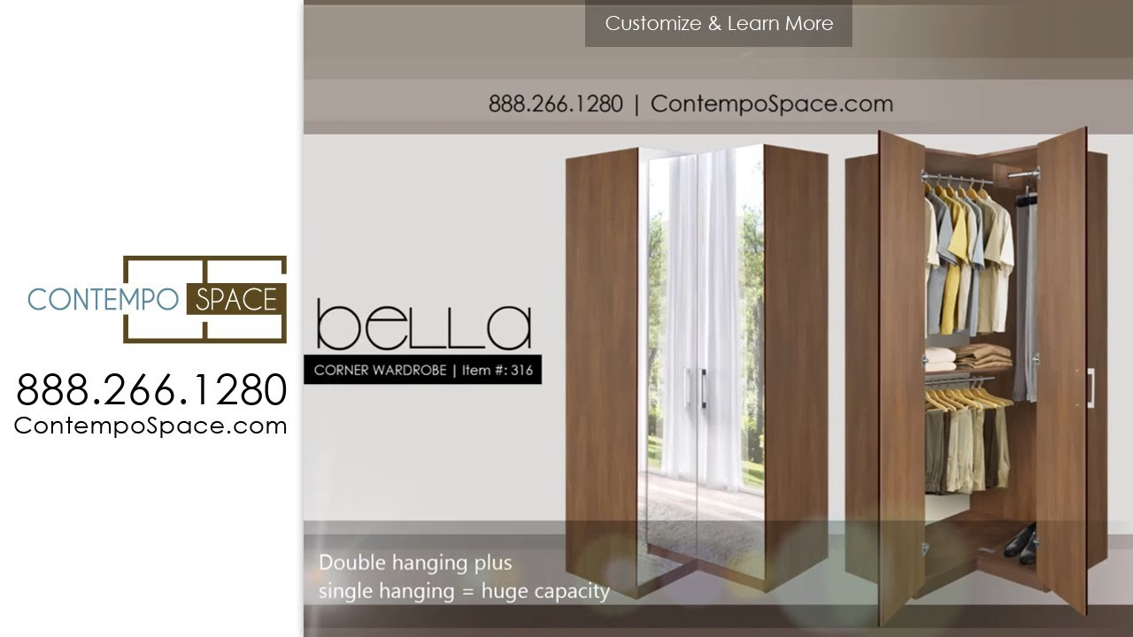 Bella Corner Wardrobe   Corner Closet W Three Hangrods | Item #: 316    YouTube