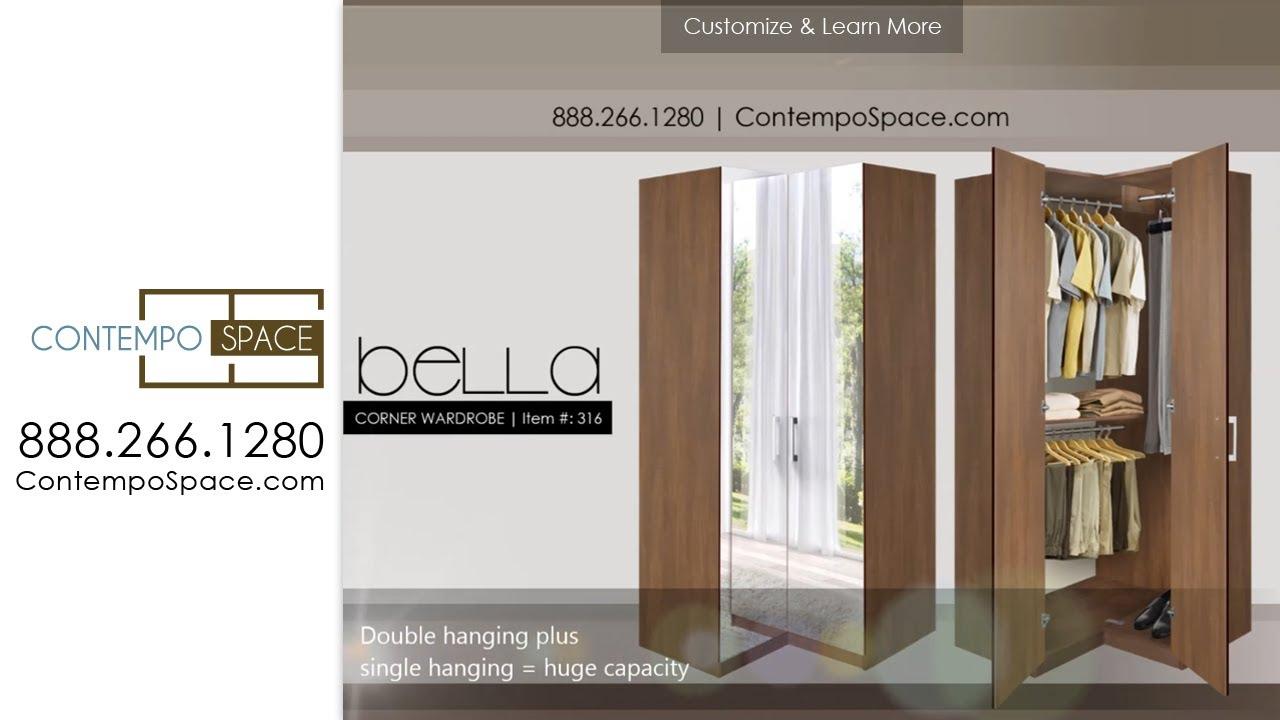 Bella Corner Wardrobe  Corner Closet w Three Hangrods