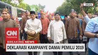 Kekompakan Prabowo-Sandi & Jokowi-Ma'ruf Saat Ikut Karnaval Deklarasi Kampanye Damai
