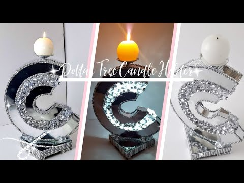 DIY Designer C Mirror Candle Holder | Dollar Tree DIY | DIY Glam Room Decor |
