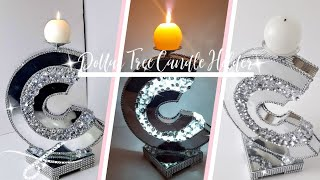 DIY Designer C Mirror Candle Holder | Dollar Tree DIY | DIY Glam Room Decor |