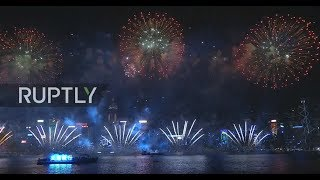 LIVE: Hong Kong throws firework party to ring in 2018 (MUTED)