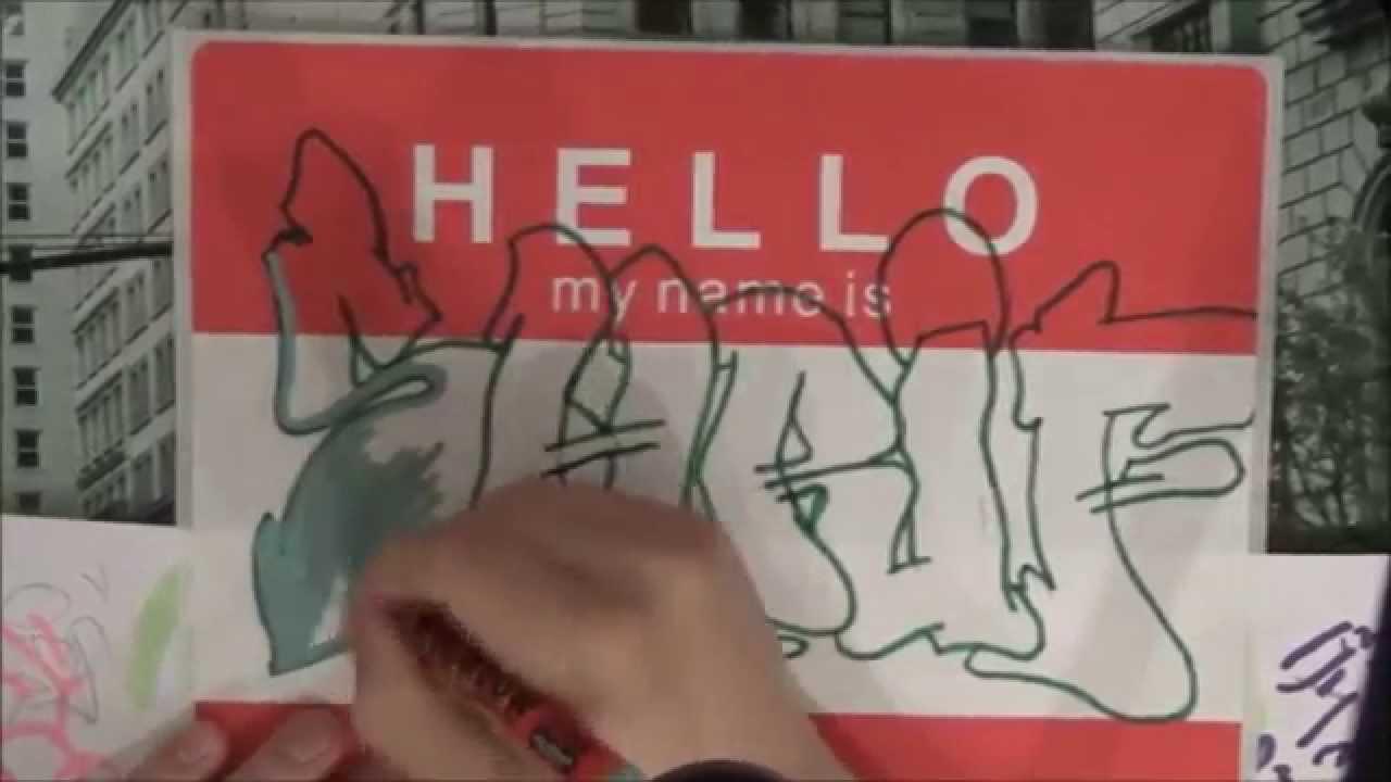 Graffiti sticker hello my name is youtube
