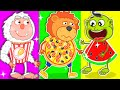 Lion Family 🍒 Pretend Play School & Eat not Healthy food | Cartoon for Kids