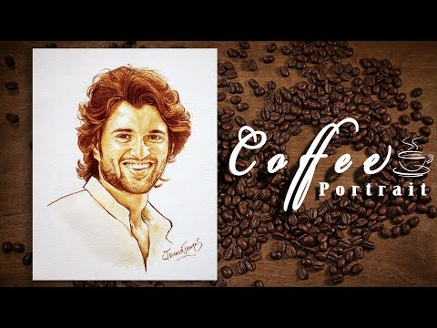 Coffee Painting | Portrait Painting | Indian Actor | Vijay Deverakonda | ArT Thoma