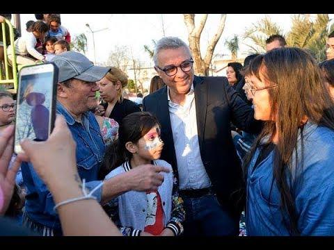 Julio Zamora inauguró los nuevos juegos de la plaza Héroes de Malvinas de Tigre centro