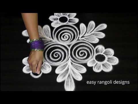 Ancient rangoli art  designs freehand || Cute kolam designs | muggulu for beginners