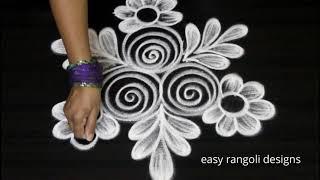 Ancient rangoli art  designs freehand || Cute kolam designs | muggulu for beginners thumbnail