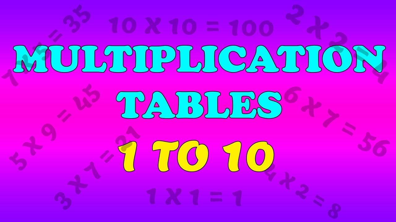 Multiplication Table 1 To 10 Learn Tables 1 To 10 Maths Tables 1