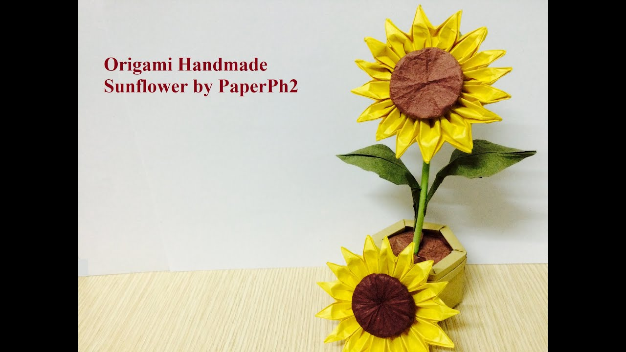 Handmade origami sunflower part2 make sepal leaf and stem youtube mightylinksfo