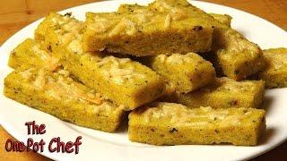 Oven Baked Cheesy Polenta Chips - Recipe
