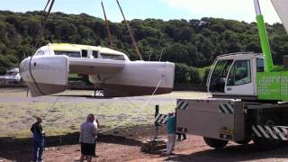 Launch of Dazcat 1395 cruising kit catamaran