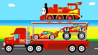 MCQUEEN MACK TRUCK Transportation - Learn Colors in Cars Cartoon for Kids & Toddlers Learning Video