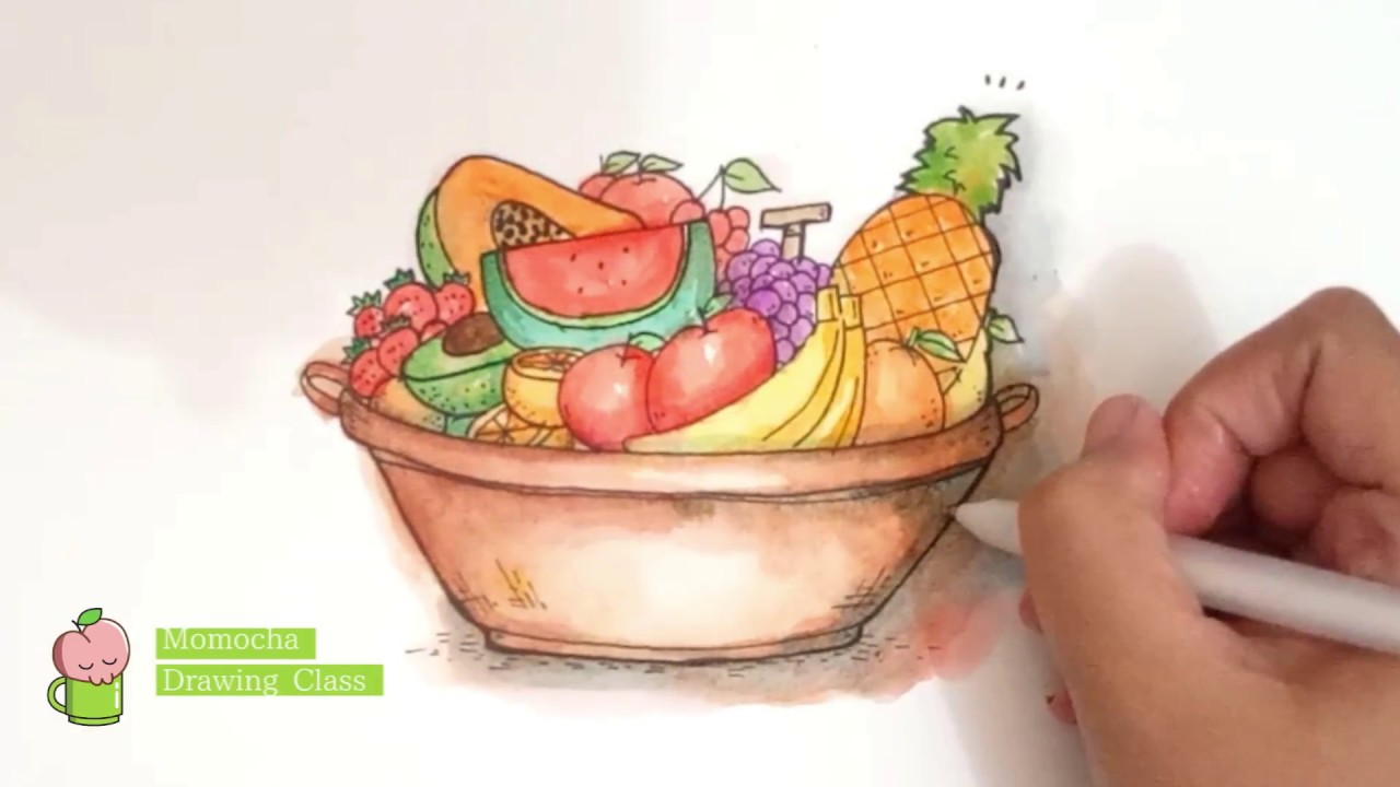 [ASMR Nature] Fruits Basket EASY Watercolor Painting Tutorial