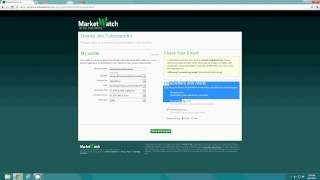 Market Watch Tutorial 1:How To Sign Up For Marketwatch.com