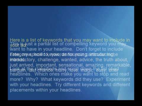 How to Write Effective Online Classified Ads