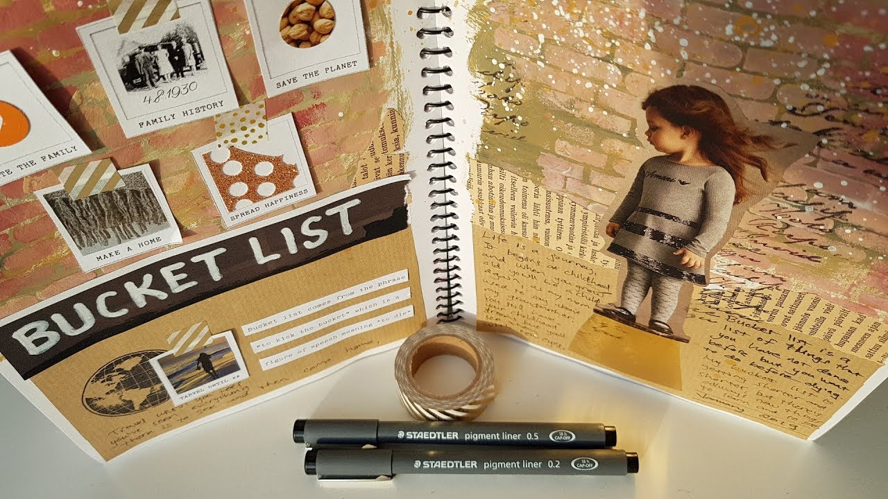 ART JOURNAL IDEAS Bucket List , Collage page with paper, magazine cuts,  acrylic paint