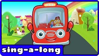 wheels on the bus go round and round   nursery rhymes with lyrics by hooplakidz sing a long