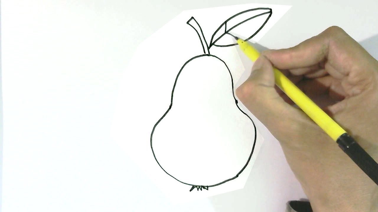 How To Draw A Pear In Easy Steps For Children, Kids