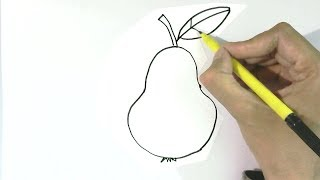 How to draw a pear   in  easy steps for children, kids, beginners
