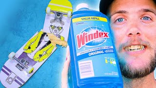 WE SOAKED A SKATEBOARD IN WINDEX FOR 24 HOURS!   SKATE EXPERIMENTS EP. 18