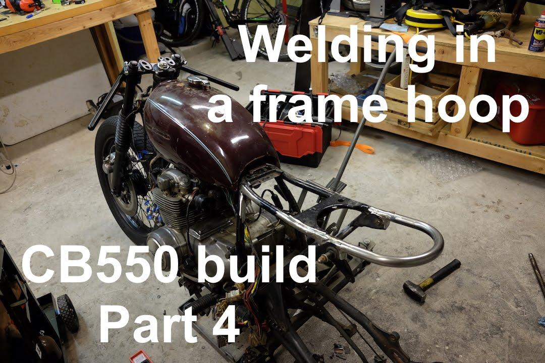 How To Build A CB550 Cafe Racer Brat Part 4 Welding In Frame Hoop