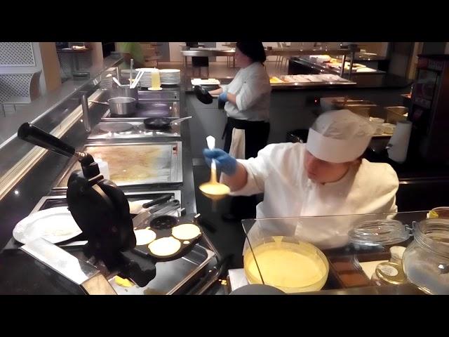 Agnes preparing waffles