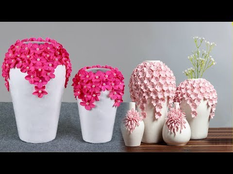Beautiful flower Vase making at home // Paper Flower vase make