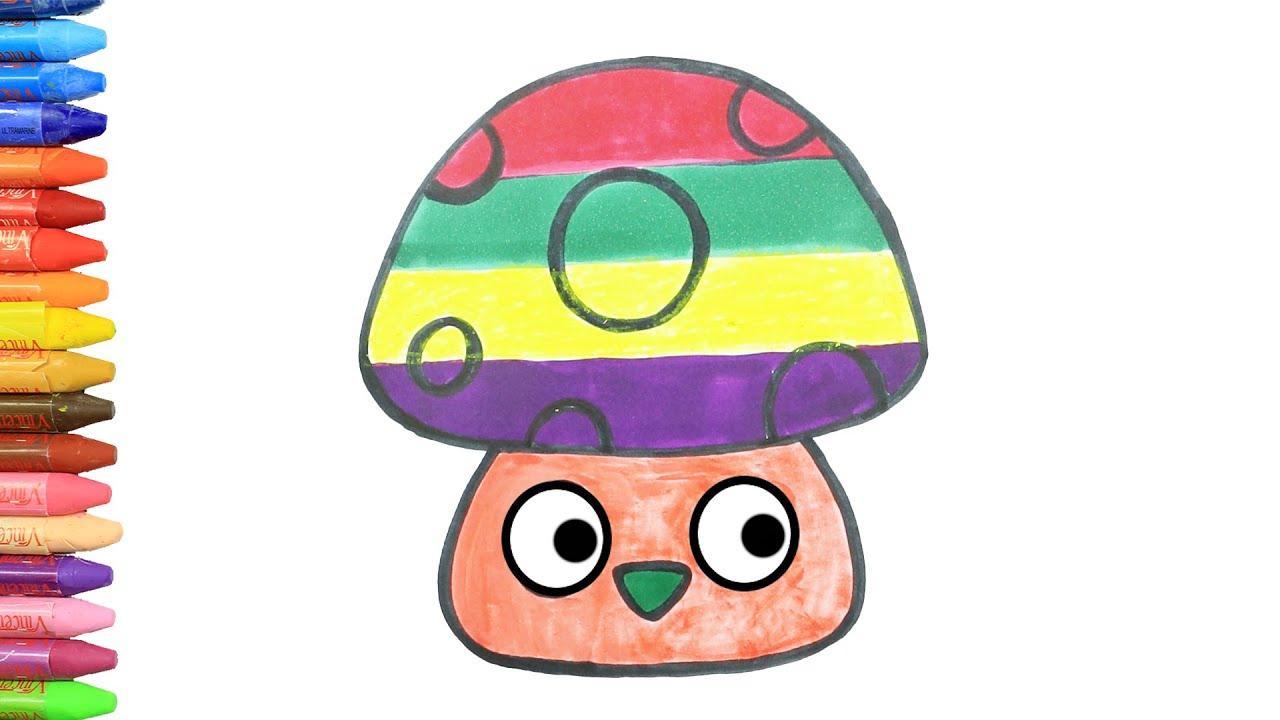 Dibujar y Colorea | Dibujos Para Niños | Aprender Colores 🎨 | Pequeños Hongos Coloridos