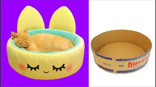 DIY CAT BED from cardbord BOX easy / How to make cat happy