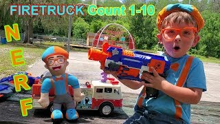 Blippi Dressed Toddler Baby | Nerf Guns 4K |  Famous Firetruck song | Learn  how to count to 10 kids