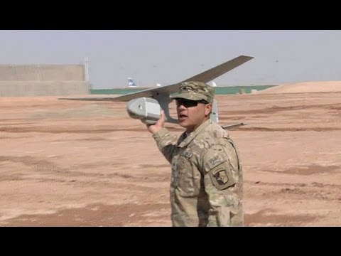 RQ-11 Raven UAV Drone - Hand Thrown Launch & Break-apart Landing.
