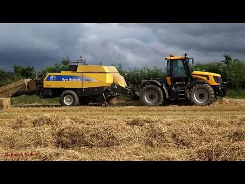 Big Square Baling in THREATening Weather!  JCB Fastrac and New Holland.