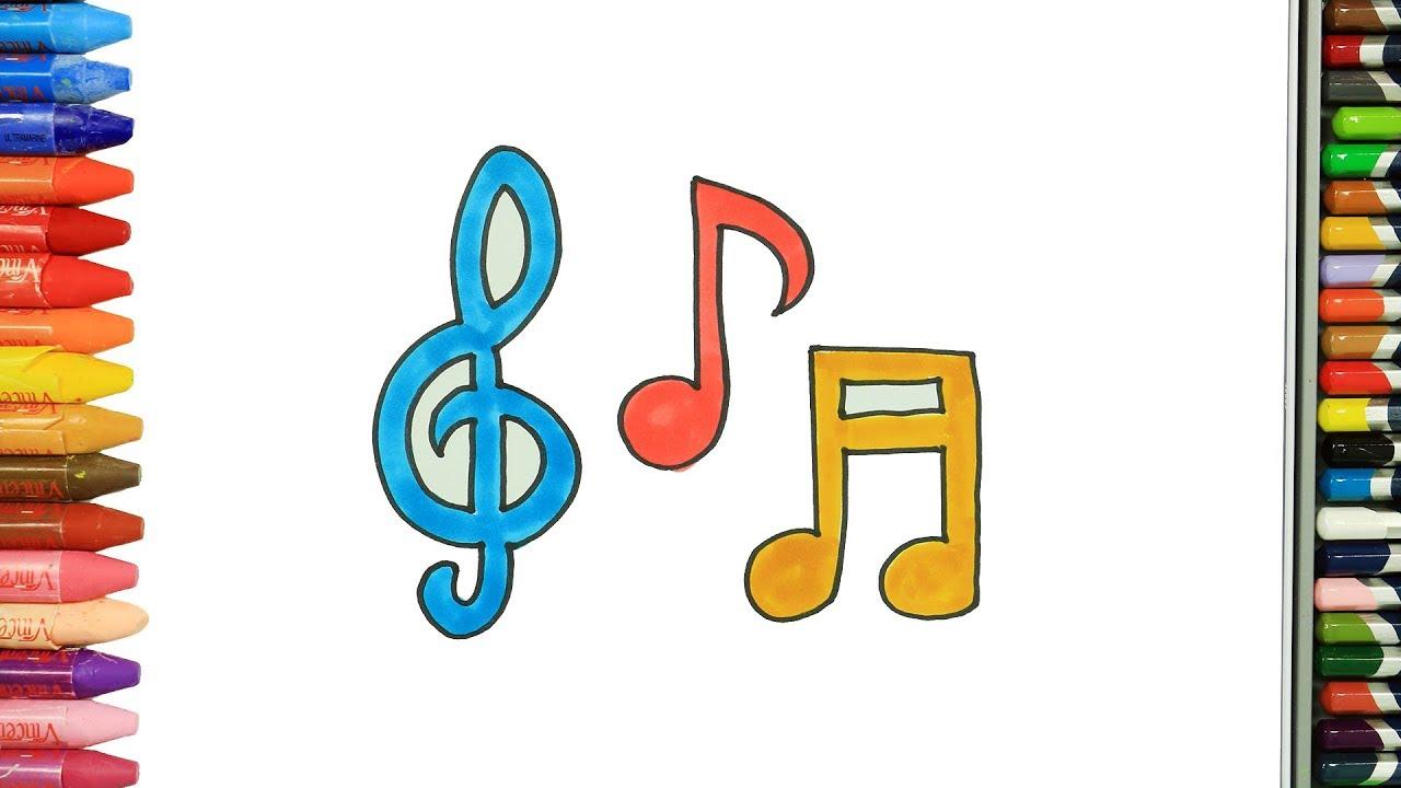 Cómo Dibujar Y Colorear Notas Musicales Dibujos Para Niños Youtube