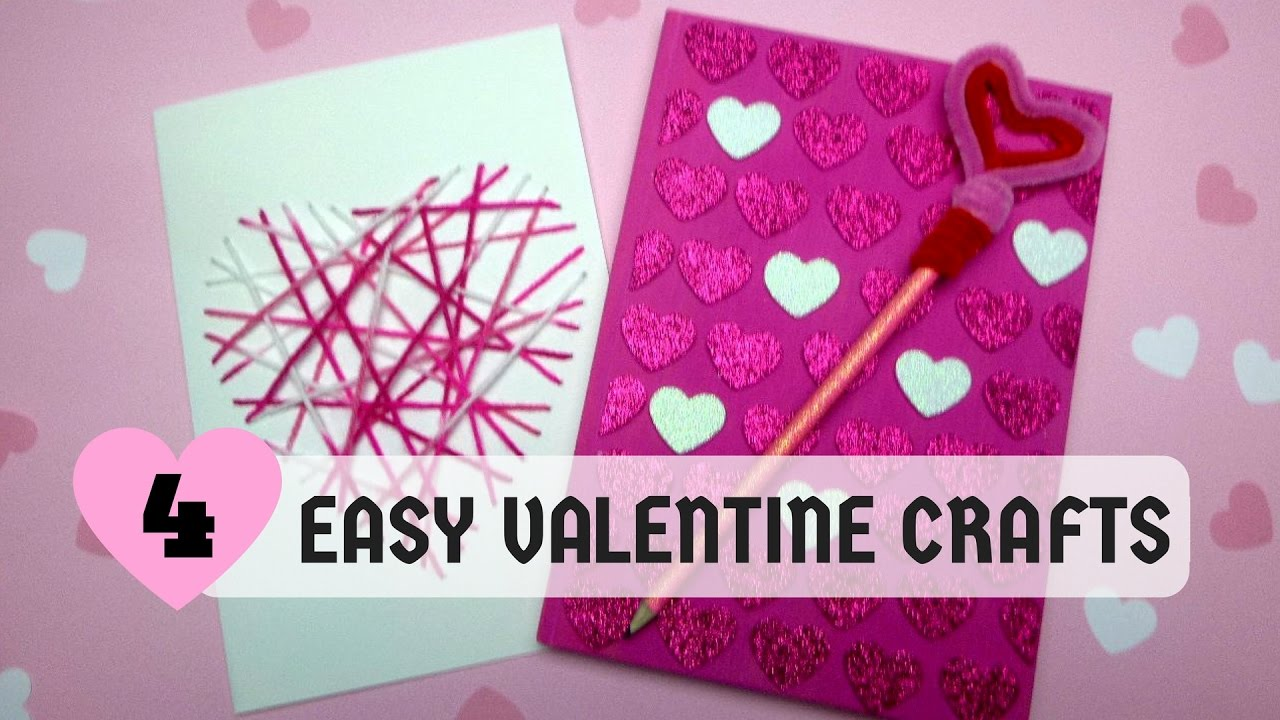 Easy Valentine Crafts Part - 41: Valentines Day - 4 Easy Valentines Crafts - YouTube