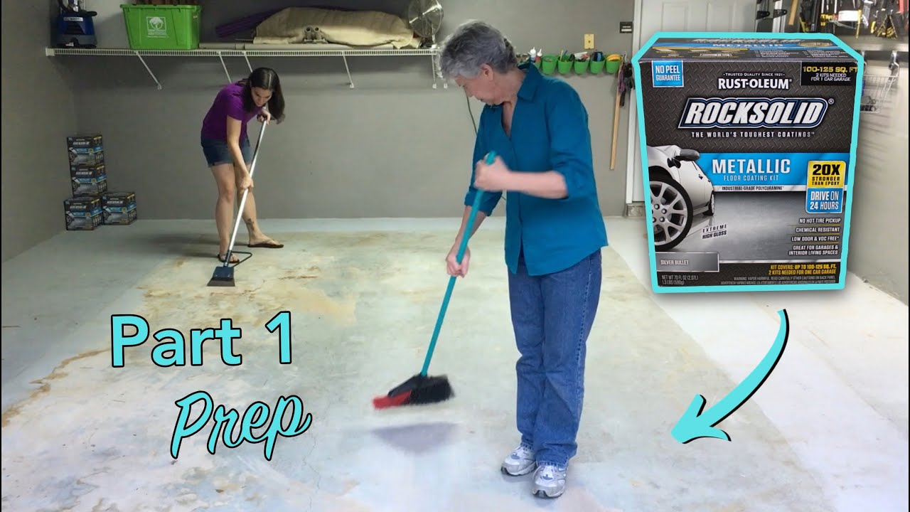 Rust Oleum Rocksolid Coating Garage Floor Prep Part 1