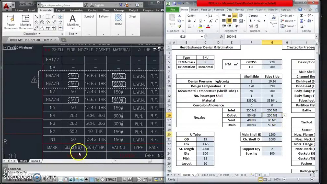 Design spreadsheet for Shell and Tube Heat Exchanger and Pressure