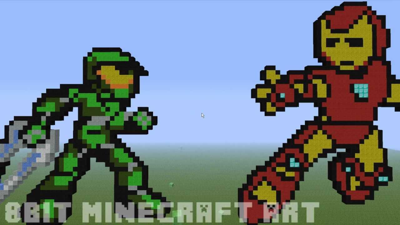 Bit MineCraft Art 2 Master Chief & Iron Man YouTube - 1280x720 ...