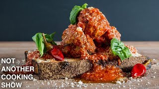 how to make SPICY MEATBALLS in ARRABIATA sauce