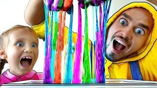 Nastya y papá Pretend Play Mixing Slimes  | Funny Slime Videos