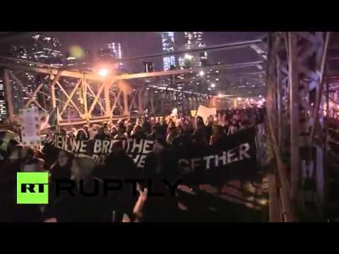 Brooklyn Bridge Blocked Anti police brutality protesters swarm NYC