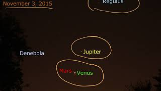 Fall 2017 conjunctions of Venus and Mars, and Venus and Jupiter