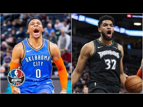 Karl-Anthony Towns' 41 powers Timberwolves to win over Russell Westbrook, Thunder | NBA Highlights