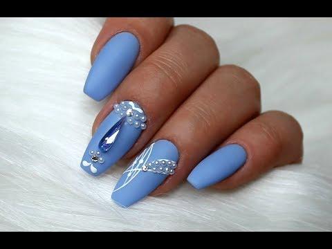 Pastel Nails Medium Blue Nail Designs