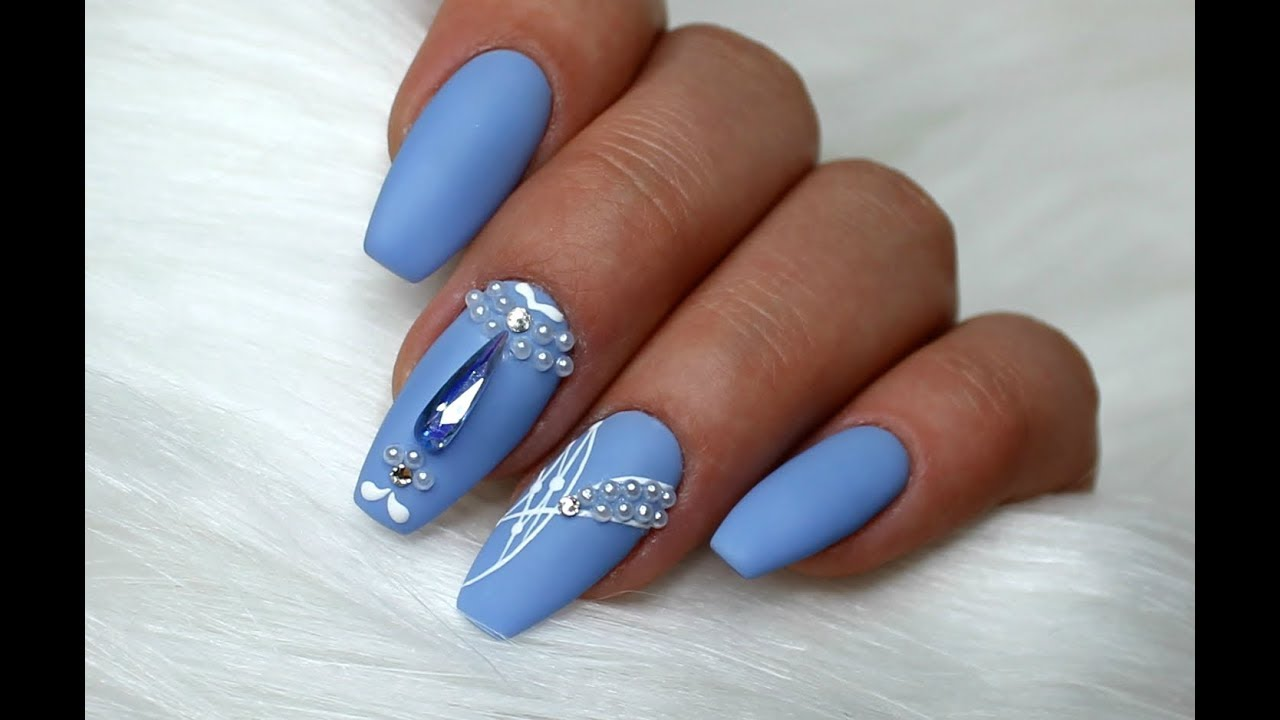 Pastel Nails Medium Blue Nail Designs