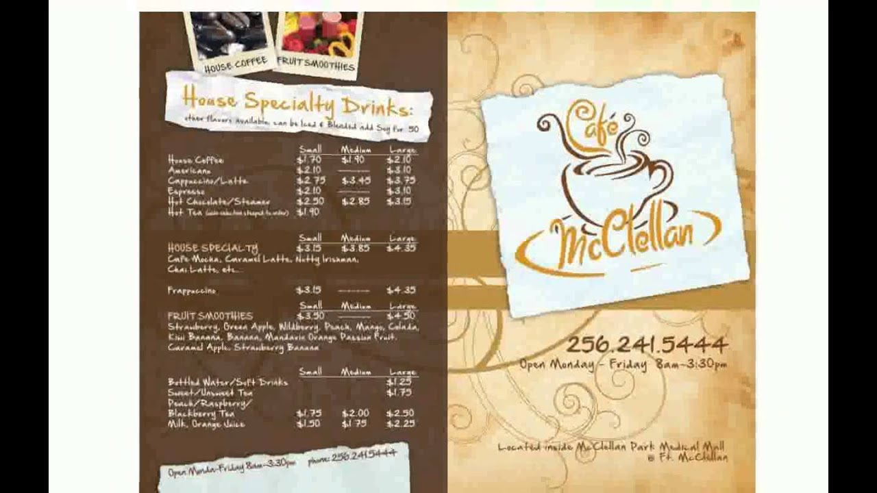 Cafe Menu Design Youtube