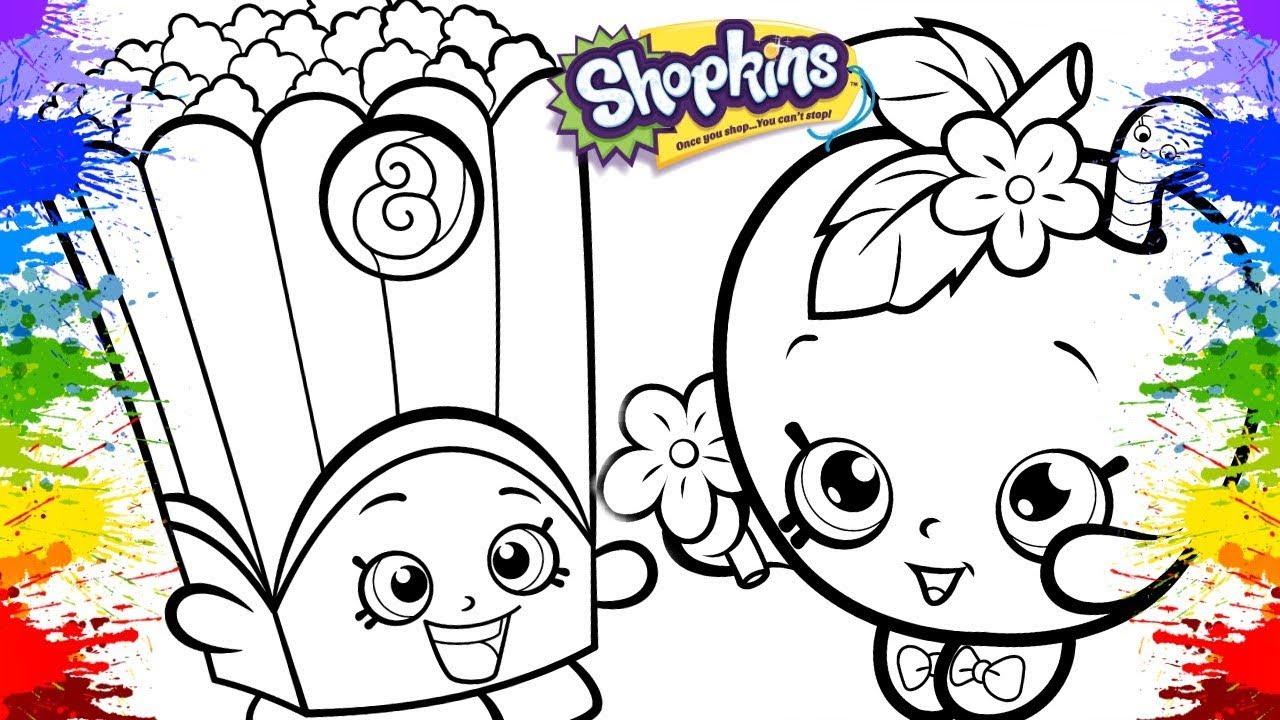 Pintura Shopkins Apple Blossom Poppy Corn Coloring Shopkins With