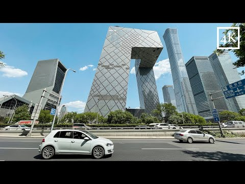 「4K」Walking in Beijing Central Business District China beijing World Towers